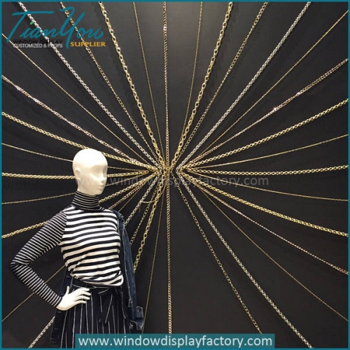 Decorative iron chain for retail window display ideas