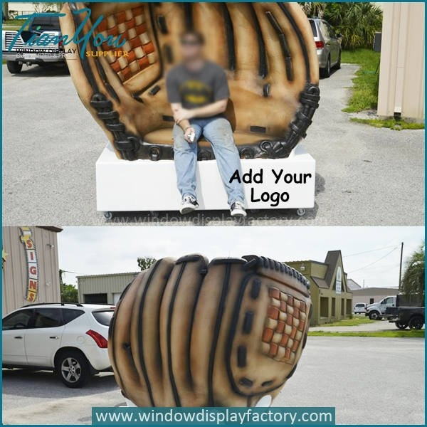 Custom giant foam baseball glove chair for display