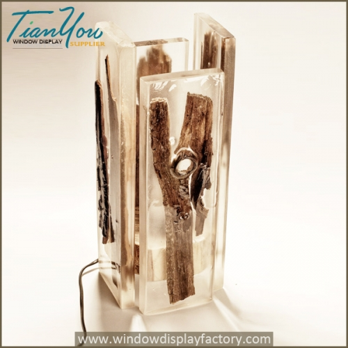 Custom wood resin table lamps for atmosphere