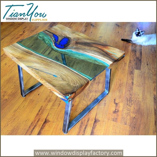 Custom glow resin table in the dark industrial furniture