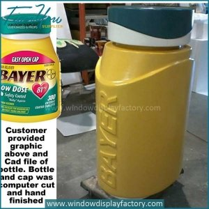Outdoor fiberglass giant bottle display props of Bayer