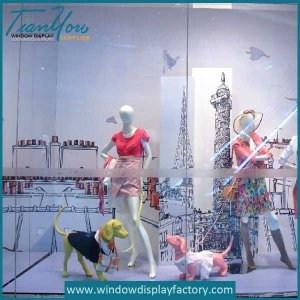 Fiberglass Dogs Mannequin for Cloth Window Display