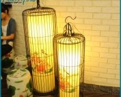 Custom Large Birdcage Shape Iron Lamp
