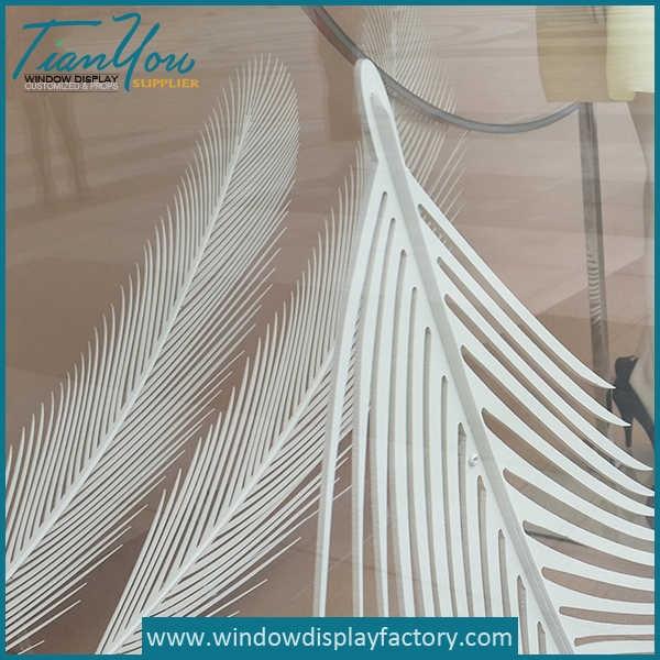 White Foam Plumage Window Display