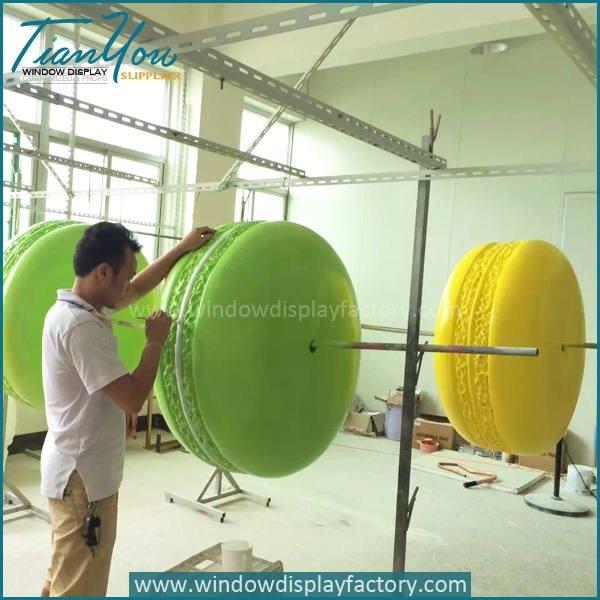 Giant Hand Made Fiberglass Colorful Macaroon Display