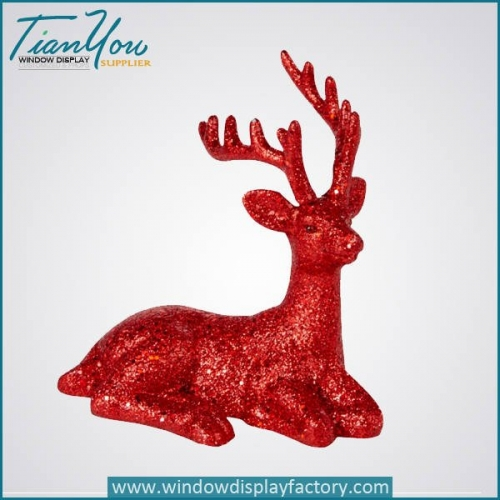 Bling Red Fiberglass Deer Statue Christmas Decoration