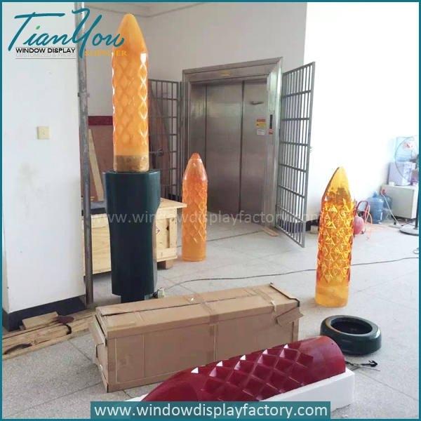 Custom Big Colorful Fiberglass Candle Decoration