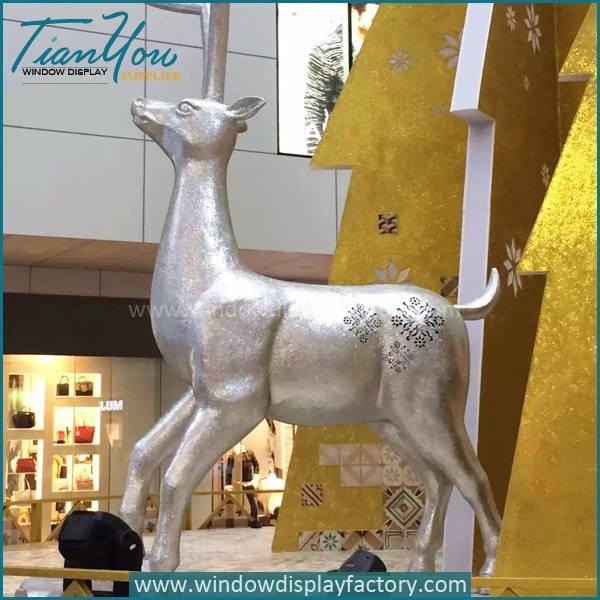 Outdoor Decorative Fiberglass Christmas Deer Statues
