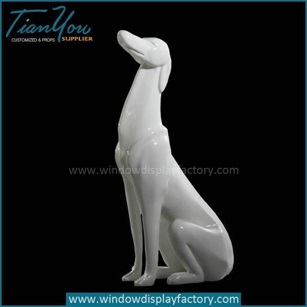 Life Size Lovely Sitting Fiberglass Dog Cculpture Decoration