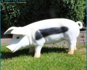 Cute Outdoor Giant White Fiberglass Pig Statue