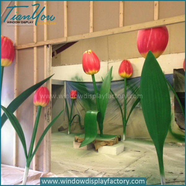Popular Giant Fiberglass Tulip Flower Decoration